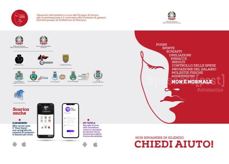 Opuscolo informativo a cura del Gruppo di lavoro per la prevenzione e il contrasto alla violenza di genere istituito presso la Prefettura di Pescara.